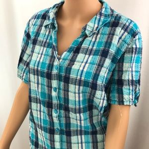 Short sleeve textured flannel- Erika - 1x